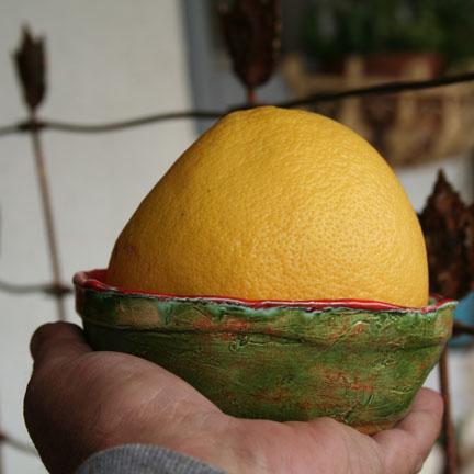 Grapefruit orange-rimmed bowl.