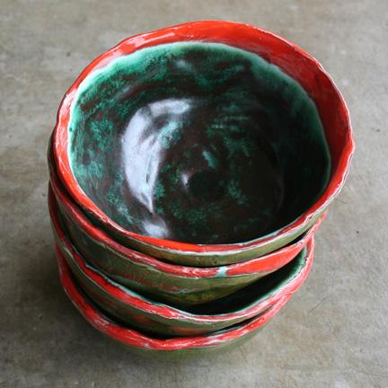 Orange rimmed bowls.